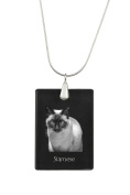Siamese, Cat Crystal Pendant, SIlver Necklace 925, High Quality