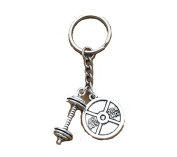 Silver Antique Sport Weightlifting Fitness Heavy Barbell Charm 45LBS 20.4 KG Weight Plate Pendant Keychain Rings