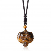 COAI® Tiger Eye Stones Chinese Auspicious Animals Tiger Head Healing Pendant Adjustable Necklace