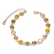 sweetiee Women's Bracelet Delicate Alloy with Beads Pave Round Austrian Crystal Glittery Multi-couleur