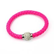 Rcool Women Girls Wristband Magnetic Rhinestone Buckle Chain Bangle Braided Leather Rope Charm Jewellery Bracelet Gift