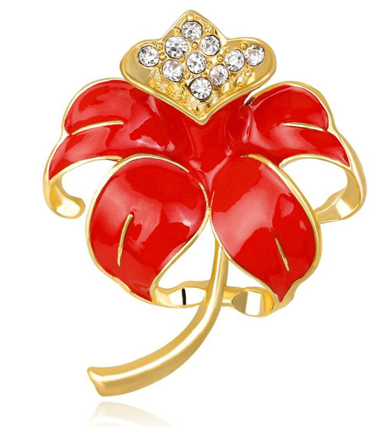 FENGJI Poppy Flower Brooches for Women Remembrance Poppies Pins Rhinestone Brooch Badge Gift 47GrO