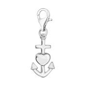 Oscaro Charms 925 Sterling Silver Clip Heart and Anchor on Charm for Thomas Sabo style bracelets and necklaces