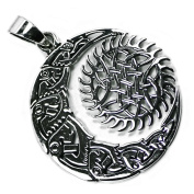 Solid Sterling Silver Celtic Knot Sun and Moon Solstice Pagan Talisman Pendant