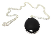 Vintage Style Large Black Agate Pendant on Long Silver Chain Necklace
