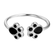 Ladies Rings Lovely Double Puppy Dog Paw 925 Sterling Silver Open Ring for Women Girls