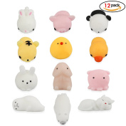 Isuper Squeeze Toys 12PCS Soft Squishy Toys Cute Kawaii Animal Mini Decompression Toys