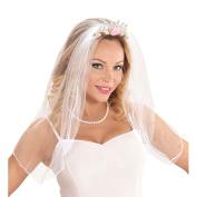 WIDMANN 07063 Tiara Bridal Veil with Rose & Diamonds Adult One Size