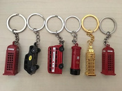 Die Cast Metal London City Keyrings, London Taxi, London Bus, Big Ben, Post Box & Two Telephone Boxes - Set of 6 by London Heritage
