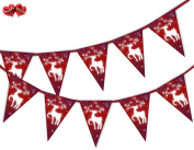 Reindeer Snowflake Red Christmas Theme Bunting Banner 15 flags for guaranteed simply stylish party decoration by PARTY DECOR