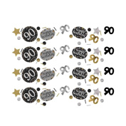 90th Birthday Table Confetti Gold Sparkle Triple Pack | Age 90 Party Supplies