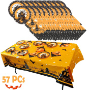 Spooktacular Creations Halloween Party Tableware Set Including Table Cover, Napkins, Paper Plates.