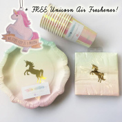 Talking Tables Gold Unicorn Pastel Ombre Plates, Napkins, Cups Tableware Party Pack for 12