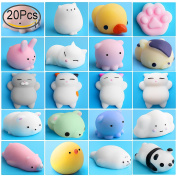 Mochi Squishy Stress Toys, Outee 20 Pcs Mochi Squishy Cat Animal Squishies Mochi Squeeze Toys Soft Squishy Release Stress Animal Toys Kawaii Animal Squishy Mini Seal Octopus Rabbit Chick Cat Pig Tiger
