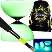 Mr B Millennium Glow in The Dark Diabolo Set + Diablo Hand Sticks, String & Diabolos Travel BAG!