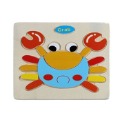 Clearance!! YanHoo Kids Wooden Cute Crab Puzzle Educational Developmental Baby Training Toy
