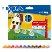 The coloured pencil which was thought about by ergonomics of LYRA lira company Groove groove triple one coloured pencil 12 colours set - Germany, LYRA (lira company). The groove triple one has three ways of how to describe crayon, coloured pencil, pict ..