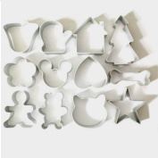 12Pcs/Lot Christmas Cookie Cutter Tools Aluminum Alloy Gingerbread Men Shaped Holiday Biscuit Mold Kitchen Cake Decorating Tool