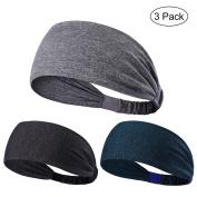 3PCS Non Slip Unisex Stretch Elastic Sports Sweatbands Headbands Head Wrap for Yoga, Basketball, Running, Football, Tennis - Hair Accessories