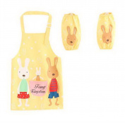 Childrens Painting Aprons Waterproof Sleeveless Cuet Smocks Rabbit's Home Yellow