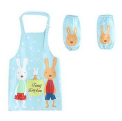Painting Aprons Waterproof Sleeveless Smocks For Children Rabbit's Home Sky Blue