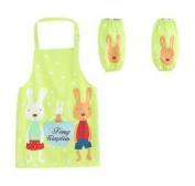Childrens Painting Aprons Waterproof Sleeveless Smocks Rabbit's Home Grass Green