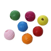180PCS Random Colour Striped Oblate Wood Beads for DIY Craft Sewing Making Supplies 14x13mm
