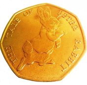 2017 24K carat Gold Plated The Tale Of Peter Rabbit 50p Fifty Pence Coin with Capsule Airtite Holder