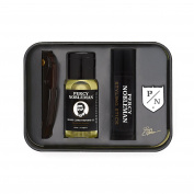 Beard Grooming Kit by Percy Nobleman. Travel Tin Including Beard Oil, Beard Comb, Moustache Styling Wax and Percy Nobleman Badge