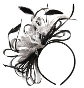 Black and Silver Fascinator Headband Hair Ascot Wedding