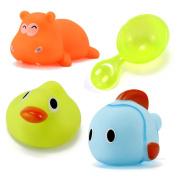 TOYMYTOY 3 PCS Baby Kids Bath Time Fun Cartoon Animals Bathtub Toys Floating Soft Bath Toys with Water Ladle