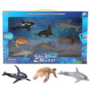 LoKauf 8Pcs Mini Vivid Solid Simulation Sea Animal Mould Set Plastic Figure Kids Educational Animal Toy