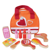 Girls Toddlers Wooden Makeup Kit Beauty Set with Vanity Bag by Babyhugs