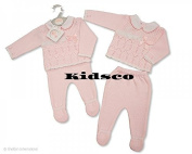 Baby Girl Double Knitted 2 pieces Pram Suit Set Baby pink Winter Warmer Gift Baby Shower Birthday Gift