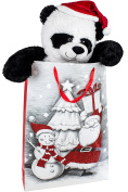 BRUBAKER XXL Panda Teddy Bear 100cm with Santa Claus hat in Christmas Gift Bag