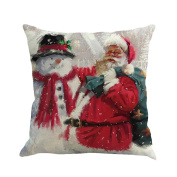 Santa Pillow Case , Janly® Happy New Year Gift Snowman Cushion Covers 45X45cm Printing Dyeing Sofa Bed Home Decor Christmas