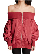 Kidsform woman Off Shoulder Long Sleeves Zipper Jacket Coat Sexy Solid Colour Casual Outerwear