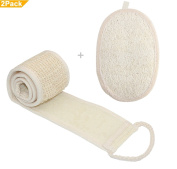 Exfoliating Long Back Scrubber Shower Strap and Exfoliating Loofah Sponge Pad,Perfect for Bath Shower and Spa Massage by DAXUN