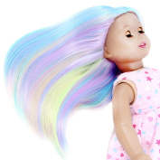 STfantasy American Girl Doll Wigs Long Straight Ombre Rainbow Hair for 46cm Baby Doll,33cm Multicolor