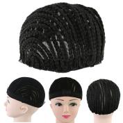 Bulary Black Cornrow Wig Cap, Mesh Weave Braided Cap for Easier Sew Hair Weft Designed for Making Wig