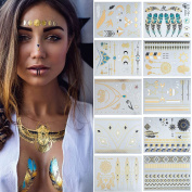 Temporary Tattoo – Meersee 10 Sheets Gold Silver Flash Tattoos Fake Jewellery Tattoos Waterproof Metallic Temporary Tattoos for Adults and Kids
