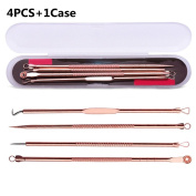 DWE 4 Pcs Acne Blackhead Removal Set ,Stainless Steel Pimple Spot Needles Tool Kit Extractor Cleanser Beauty Face Clean Care Tools
