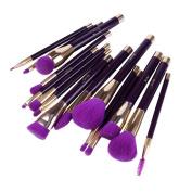 Jessup 15pcs Purple/Darkviolet Makeup Brushes Set Powder Foundation Eyeshadow Eyeliner Lip Contour Concealer Smudge Brush Tool T114
