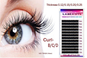 Labeaute Faux Mink Individual Eyelash Extensions Mix Length Trays C - curl / 0.20mm