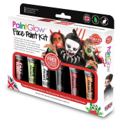 PaintGlow™ Children's Fun Halloween Face Paint High Pigment Colour Kit with Fake Blood for Spooky Fancy Dress