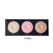 BEAUTY GLAZED 3 Colours In 1 Highlight Pressed Illuminating Powder Easy To Wear Concealer Powder Natural Compact Powder #1 Mary
