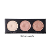 BEAUTY GLAZED 3 Colours In 1 Highlight Pressed Illuminating Powder Easy To Wear Concealer Powder Natural Compact Powder #2 French Vanilia