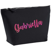 Gabriella Personalised Name Cotton Canvas Black Make Up with a Holographic Pink Print Accessory Bag Wash Bag Size 14x20cm. The perfect personalised Gift for All occasion, Christmas, Birthdays,