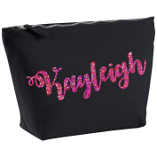 Kayleigh Personalised Name Cotton Canvas Black Make Up with a Holographic Pink Print Accessory Bag Wash Bag Size 14x20cm. The perfect personalised Gift for All occasion, Christmas, Birthdays,