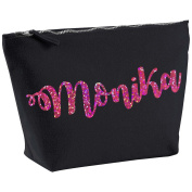 Monika Personalised Name Cotton Canvas Black Make Up with a Holographic Pink Print Accessory Bag Wash Bag Size 14x20cm. The perfect personalised Gift for All occasion, Christmas, Birthdays,